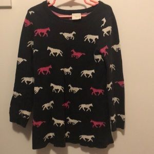 Black sweater dress with horses